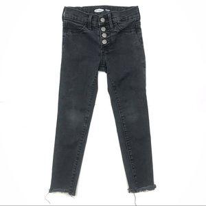 🎈 Black Wash Button Front Fringe Skinny Jeans